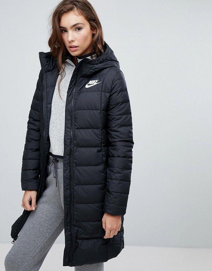 doudoune longue nike femme,Doudoune longue droite noire à capuche Nike en noir pour vêtements